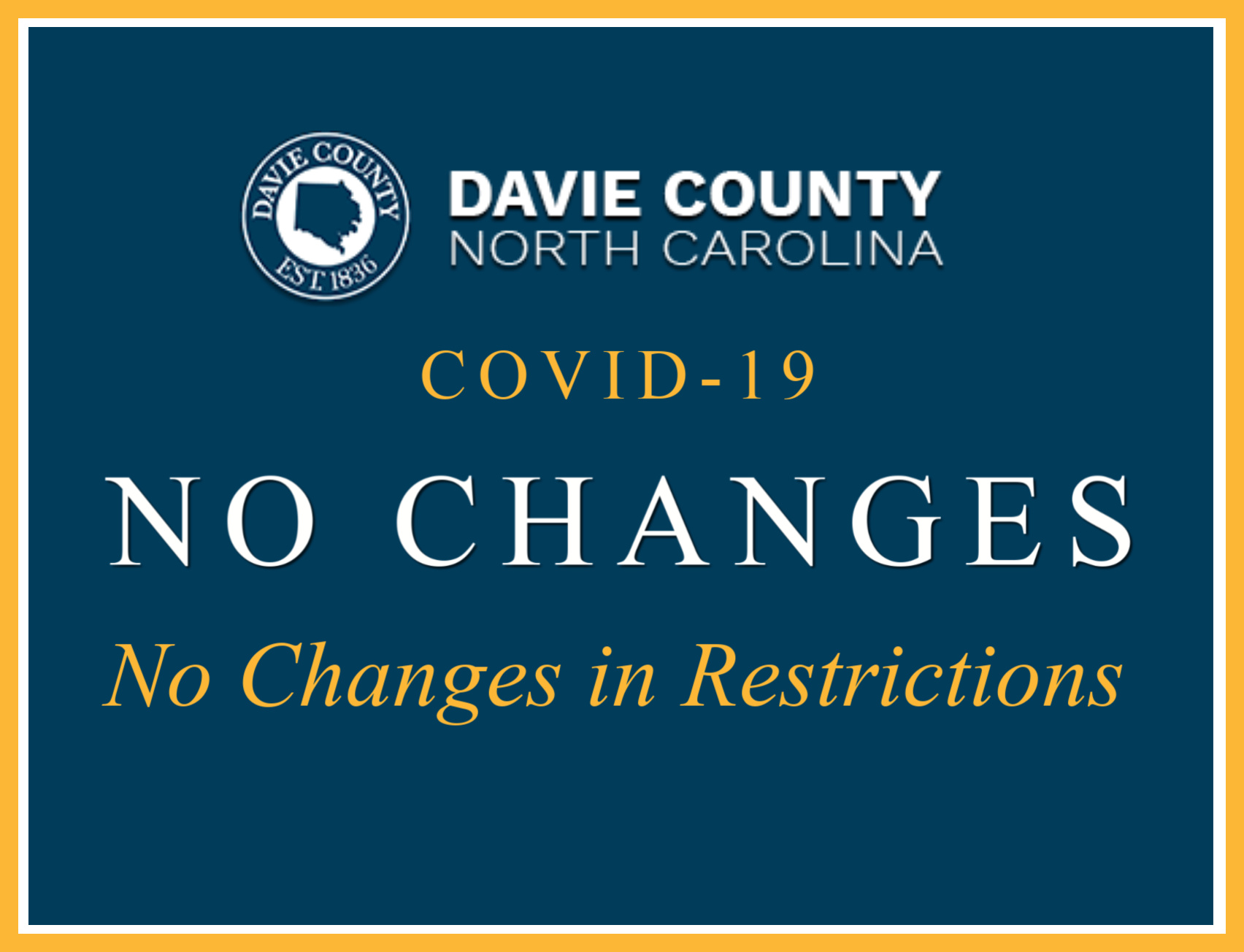 Davie County Commissioners state no further changes to resrictions for now March 25 2020